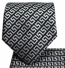 Black and Silver Men's Tie and Pocket Square