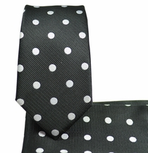 Black and Silver Slim Necktie and Pocket Square