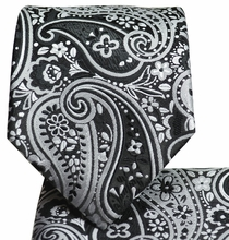 Black and Silver Paisley Men's Tie and Pocket Square