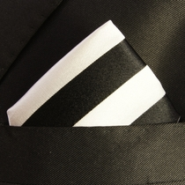 Black and Silver Pocket Square . 100% Silk (H832)