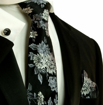 Black and Silver Silk Necktie Set by Paul Malone (798CH)