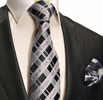 Black and Silver Silk Tie Set . Paul Malone Red Line