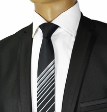 Black and Silver Slim Necktie