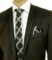 Black and Silver SLIM Silk Tie Set by Paul Malone (Slim576H)