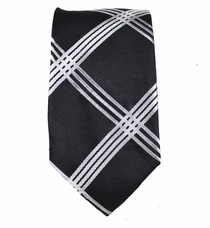 Black and Silver Slim Silk Tie by Paul Malone