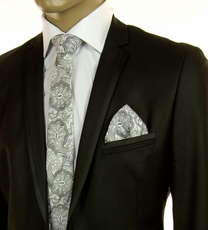 Black and Silver SLIM Silk Tie Set by Paul Malone (Slim585H)