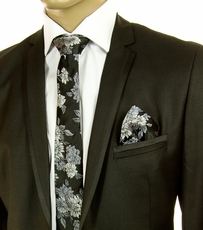 Black and Silver SLIM Silk Tie Set by Paul Malone (Slim798H)