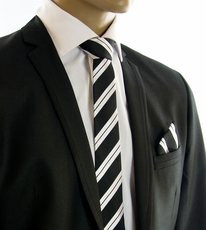 Black and Silver SLIM Tie and Pocket Square by Paul Malone (Slim279H)