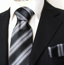 Black and Silver Striped Men's Necktie and Pocket Square (Q15)
