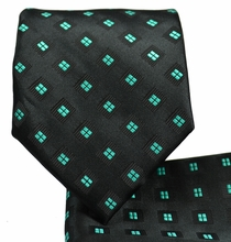 Black and Turquoise Necktie and Pocket Square