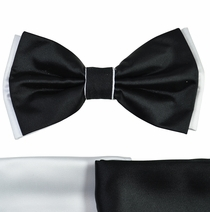 Black and White Bow Tie with 2 Pocket Squares