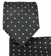 Black and White Necktie and Pocket Square