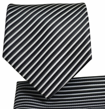 Black and White Necktie and Pocket Square Set (Q576-G)
