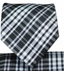 Black and White Plaid Necktie and Pocket Square