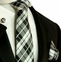 Black and White Plaid Necktie Set by Paul Malone (571CH)