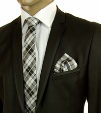 Black and White Plaid SLIM Tie Set by Paul Malone (Slim571H)