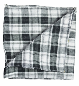 Black and White Pocket Square by Paul Malone . Cotton/Linen Blend