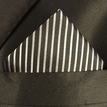 Black and Silver Silk Pocket Square (H408)
