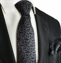 Black and White Silk Tie and Pocket Square by Paul Malone