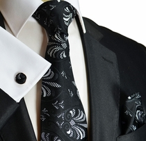 Black and White Silk Tie by Paul Malone (1010CH)
