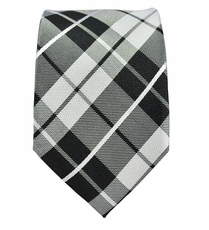 Black and White Slim Tie by Paul Malone. 100% Silk