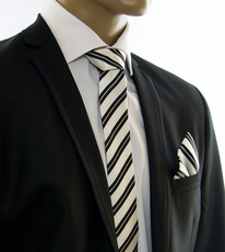 Black and White Slim Tie Set by Paul Malone (Slim302H)