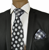 Black and White Steven Land Silk Tie and Pocket Square