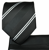 Black and White Striped Necktie and Pocket Square (Q506-F)