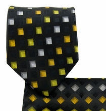 Black and Yellow Necktie and Pocket Square (Q570-i)