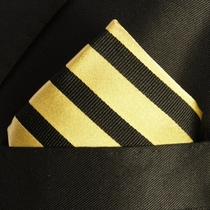 Black and Yellow Silk Pocket Square (H335)