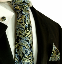 Black, Blue and Gold Silk Necktie Set by Paul Malone (577CH)