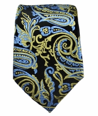 Black, Blue and Gold Slim Silk Tie by Paul Malone