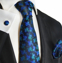 Black, Blue and Green Silk Mens Tie Set by Paul Malone