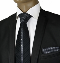 Black Crystal Silk Tie a. Pocket Square by Steven Land