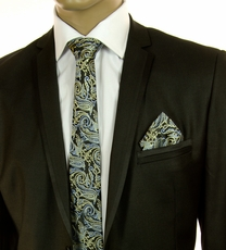Black, Gold and Blue SLIM Silk Tie Set by Paul Malone (Slim577H)