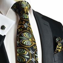 Black, Green and Curry Silk Tie Set by Paul Malone (1004CH)