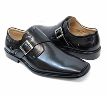 Black Monk Strap Loafers with Silver Buckle