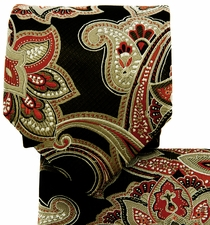 Black, Orange and Cream Paisley Necktie Set (Q569-L)