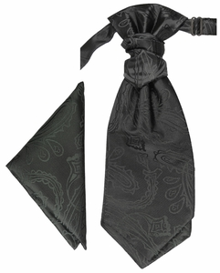 Black Paisley Cravat Set by Paul Malone (PLV2H)