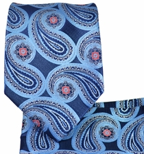 Blue Paisley Necktie and Pocket Square