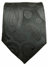 Black Paisley Paul Malone Silk Tie (815)