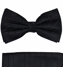 Black Paul Malone Bow Tie and Pocket Square Set , 100% Silk (BT475H)