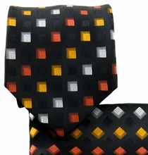 Black, Red and Orange Necktie and Pocket Square (Q570-J)