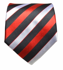 Black, Red and Silver Paul Malone Silk Necktie (913)