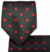 Black & Red Polka Dots, Necktie and Pocket Square