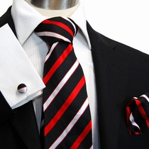 Black, Red & Silver Striped Paul Malone Silk Necktie Set (913CH)