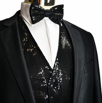 Black Sequin Tuxedo Vest and Bow Tie Set