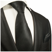 Black Silk Tie and Pocket Square . Paul Malone