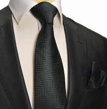 Black Silk Tie and Pocket Square . Paul Malone Red Line