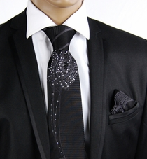 Black Steven Land Silk Tie with Crystals (CR501)